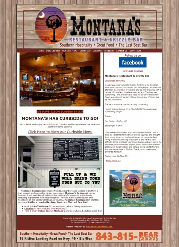 Montana's Restaurant and Grizzly Bar website - Bluffton, SC